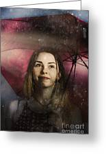 Woman Resilient In Storm Through Positive Thinking Greeting Card