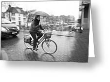 Woman Riding In The Raing Greeting Card