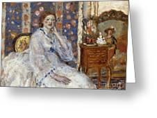 Woman Seated In An Armchair Greeting Card