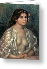 Woman Semi Nude Greeting Card by Pierre Auguste Renoir