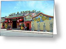 Woman Sits Outside Chinese Temple With Urn And Deity Statues Pattani Thailand Greeting Card
