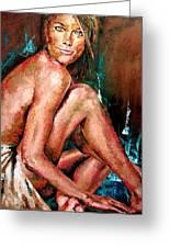 Woman Sitting Greeting Card