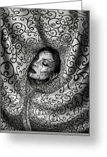 Woman Surrounded By Cloth Of Paisley Prints Greeting Card