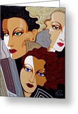 Woman Times Three Greeting Card by Tara Hutton