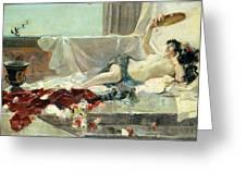 Woman Undressed Greeting Card by Joaquin Sorolla y Bastida