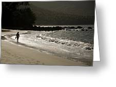 Woman Walking On A Deserted Beach Greeting Card
