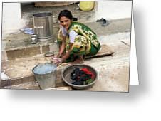Woman Washing Clothes In Khajuraho Village Greeting Card