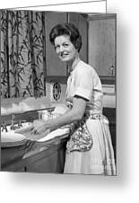Woman Washing Dishes, C.1960s Greeting Card