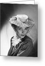 Woman Wearing A Hat & Veil Greeting Card
