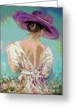 Woman Wearing A Purple Hat Greeting Card