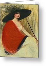 Woman Wearing Hat Greeting Card