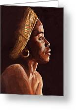 Woman Wearing Scarf Greeting Card by Dorothy Riley