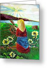 Woman Weaves A Basket By The Lake At Sunset Greeting Card