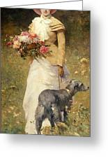 Woman With A Dog Greeting Card