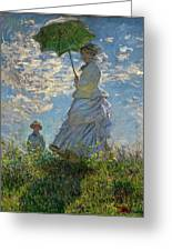 Woman With A Parasol, Madame Monet And Her Son, Claude Monet Digitally Enhanced Greeting Card