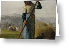Woman With A Rake Greeting Card