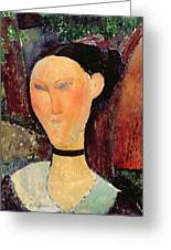 Woman With A Velvet Neckband Greeting Card by Amedeo Modigliani