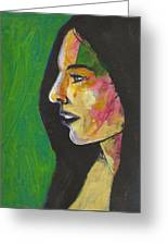 Woman With Black Lipstick Greeting Card
