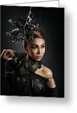 Woman With Black Metallic Headdress Greeting Card
