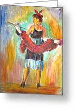 Woman With Boa Greeting Card