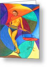 Woman With Chair Greeting Card