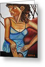 Woman With Curly Hair Greeting Card