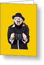 Woman With Electronic Calculator Greeting Card