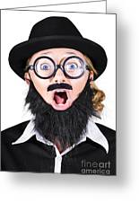 Woman With Fake Beard And Mustache Screaming Greeting Card