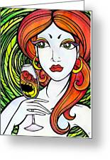 Woman With Glass Greeting Card