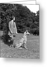 Woman With Great Dane, C.1920-30s Greeting Card