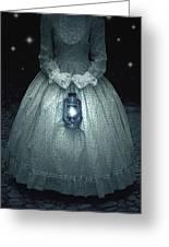 Woman With Lantern Greeting Card