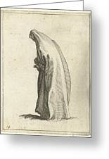 Woman With Long Veil Greeting Card