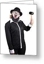 Woman With Male Costume Holding Mallet Greeting Card