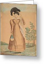 Woman With Plumed Hat Greeting Card