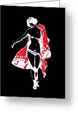 Woman With Red Cape - And Not Much Else Greeting Card