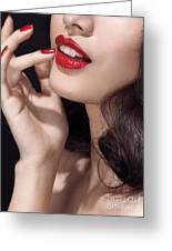 Woman With Red Lipstick Closeup Of Sensual Mouth Greeting Card
