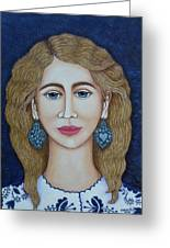 Woman With Silver Earrings Greeting Card