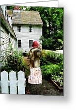 Woman With Striped Jacket And Flowered Skirt Greeting Card