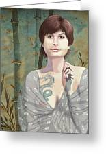 Woman With Tattoo Greeting Card