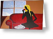 Woman With Tea Greeting Card
