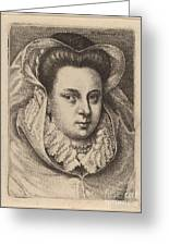 Woman With White Veil And Black Hat (mary Stuart?) Greeting Card