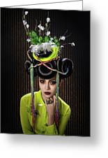 Woman With Yellow Dress With Feather And Leaf Headdress Greeting Card