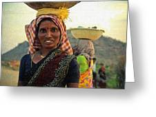 Women Carrying Goods On Their Heads H B Greeting Card
