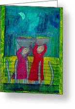 Women Carrying Wash Greeting Card