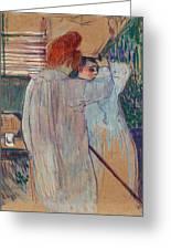 Women Combing Their Hair - Two Women Dressing Nightshirts Greeting Card 667b3ef8d