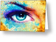 Women Eye Color Rust Effect Painting Collage Violet Makeup. Greeting Card