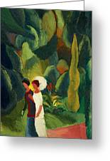 Women In A Park With A White Parasol Greeting Card