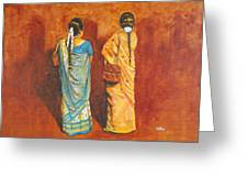 Women In Sarees Greeting Card