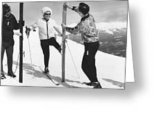 Women Waxing Skis Greeting Card
