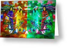 Women With Bike Greeting Card